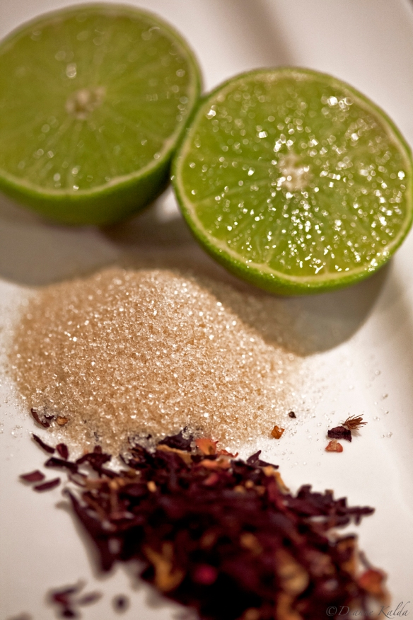 lime, organic raw sugar, hibiscus and rose petals