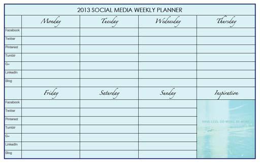 Social Media Weekly Planner